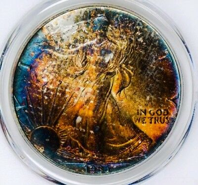 1986 MS67 American Eagle Silver  Dollar Coin * MONSTER RAINBOW TONING  *