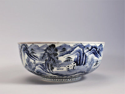Antique Arita Imari Blue White Large Bowl Japanese Porcelain Mountain Landscape
