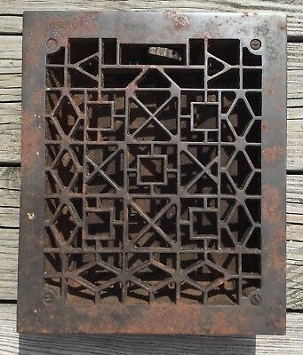 VTG ANTIQUE CAST IRON FLOOR GRATE HEAT VENT REGISTER ART AND CRAFT DESIGN 8x10