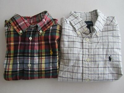 Lot of 2 Ralph Lauren Boys 3 3T 4 Button Down Long Sleeve Shirts Plaid