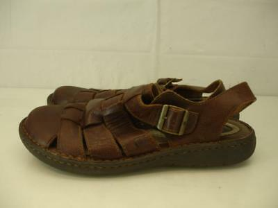 5abfb06b0 Born Mens sz 10 M Elbek Fisherman Sandals Brown Leather Woven Closed Toe  Shoes