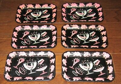 Vintage 6 PINK ELEPHANT COCKTAIL BAR Metal DRINK Tip Tray 1950's Mid Century