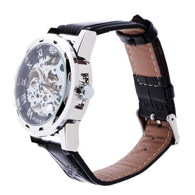 Men's Mechanical Wrist Watch Skeleton Hand Wind Up Leather Strap Sliver