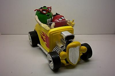 M & M  Rebel Yellow Roadster / Hot Rod Collectible Dispenser--Large