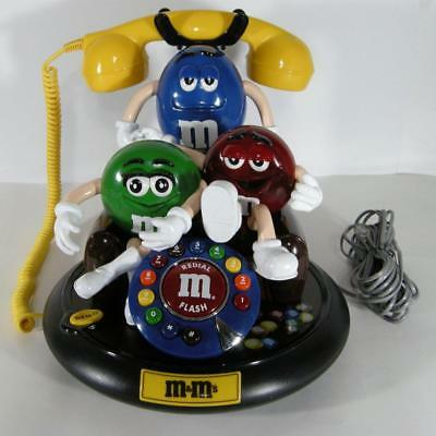 M&M Animated Telephone Talking Land Line Corded Phone 3 Red Green Blue SEE VIDEO