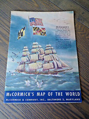 Vintage advertising map, McCormick's Map of the World, 1964, vintage spices