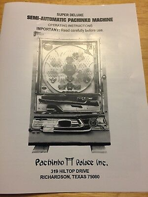 Pachinko  machine operating Instructional guide made of. Gloss coated paper