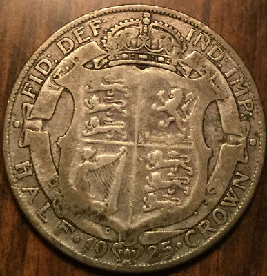 1925 Uk Gb Great Britain Half Crown .500 Silver