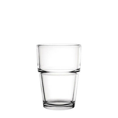 12x Glass 200ml Toughened Olympia Stackable Tumbler Cafe Glasses Bar Water Drink