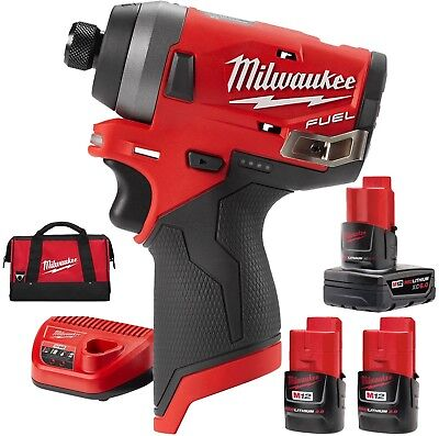 "Milwaukee 2553-22 M12 FUEL 1/4"" Hex Impact Driver KIT w/ free 6.0AH Battery"