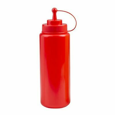 6x Sauce / Squeeze Bottle 1000mL Small Top Cap Wide Mouth Red Tomato Ketchup