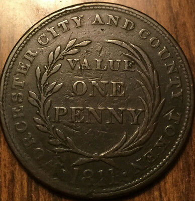 1811 Uk Gb Great Britain Worcester City And County One Penny Token