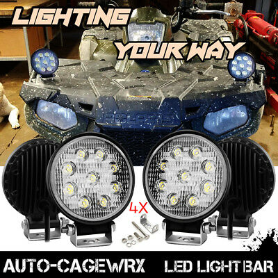 "Polaris Sportsman 1000 XP 570 850 Round 4"" LED Light Bar ATV Fog Headlight Flood"
