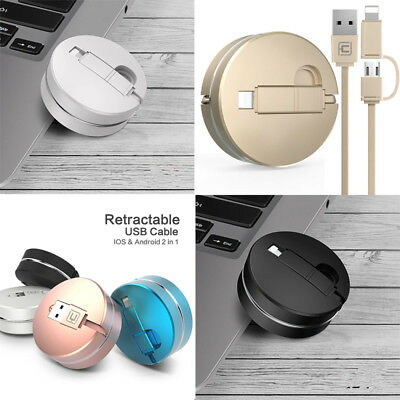 2 in 1 retractable USB Fast Charging Cable for Samsung Phone iPhone 7 6s plus 5