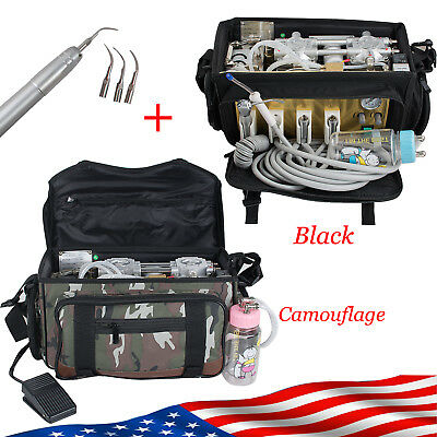 US 2 Type Dental turbine Unit Bag Air Compressor Free Maintanance 4 Holes+Scaler