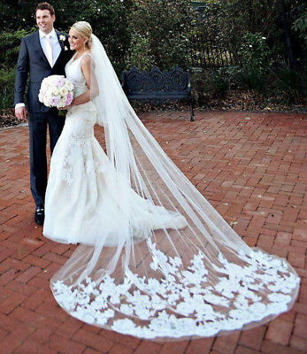 White/Ivory 3M Long Bridal Wedding Veil with Comb Lace Applique Edge Cathedral