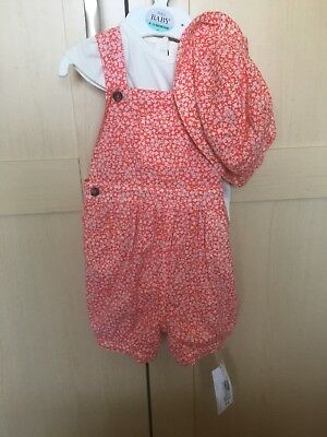 Bnwt Baby Girls M&S Summer Dungarees Vest Hat Set 9-12 Cute outfit