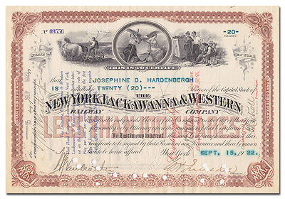 New York, Lackawanna & Western Railway Company Stock Certificate