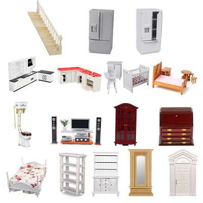 1:12 Miniature Wooden Kitchen/Bedroom/Bathroom Furniture Set Dolls House Decor