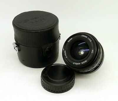 VIVITAR MC 28mm F2.8 Wide Angle PK Mount Lens and Pentax Case #614MS