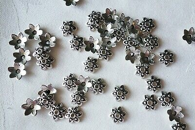30 Ant. Silver 9x3mm Flower Bead Caps #bc0037 Combine Postage-See Listing