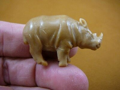(tb-rhino-5) little tan rhino Rhinoceros Tagua NUT palm figurine Bali carving
