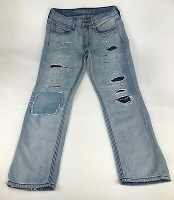 087c61cfc03 American Eagle Womens TomGirl Jeans Destroyed lined Distressed Button Fly  Size 2