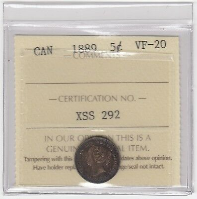 1889 Canada 5 Cents Silver Coin - ICCS VF-20