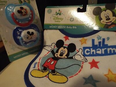 Disney Mickey Mouse baby bib and pacifier set