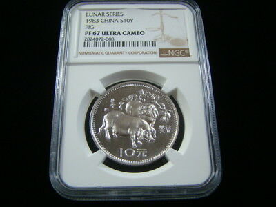 1983 China Lunar Series Silver Pig S10Y NGC Graded PF67 Ultra Cameo Nice!!