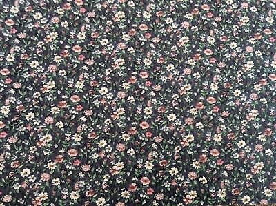 1:12 Scale Dollhouse Wallpaper Navy Blue Background Floral