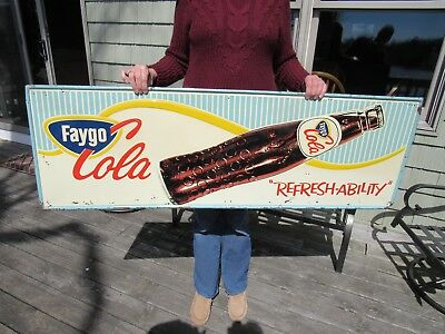 VINTAGE ORIGINAL 1950's FAYGO COLA EMBOSSED SIGN PRESS SIGN CO. NOT RC OR COKE