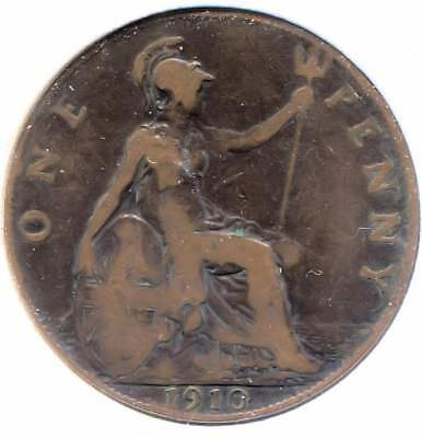 Great Britain 1910 Large One Penny Coin - United Kingdom England King Edward VII