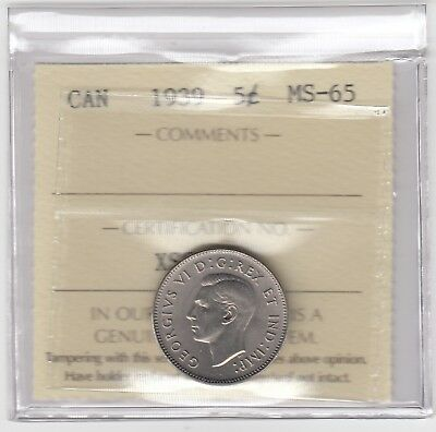 1939 Canada 5 Cents Nickel Coin - ICCS MS-65