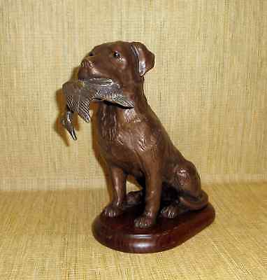 Bronze Look Hunting Bird Dog with Duck In Mouth Solid Resin Wood Base