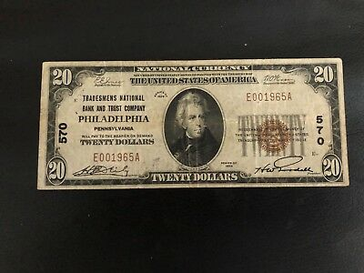 $20 1929 Type 1  The Tradesmens National Bank Philadelphia CH#570   Very Fine