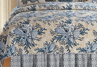 Indigo Sound Shells and Coral Queen or Full Size Reversible Quilt 92 X 90 Inch