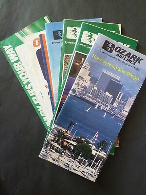Lot of Vintage OZARK AIR LINES Timetables & Ticket Folders LQQK