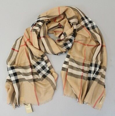 bc0341908e3a Burberry Women s Gauze Giant Check Wool Silk Scarf AB4 Camel 86.6x27.6