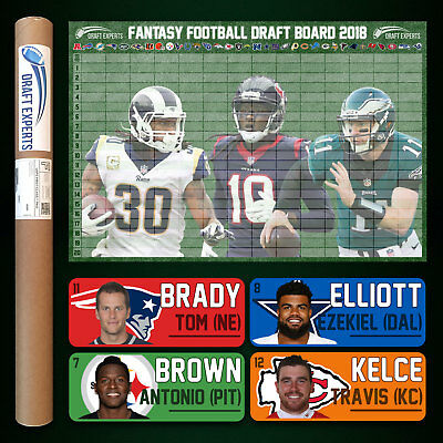 Fantasy Football Draft Kit 2018 - Color Player Labels & Draft Board