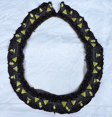 Antique Arts & Crafts Embroidered Collar 4 Dress W Yellow Glass Beadwork