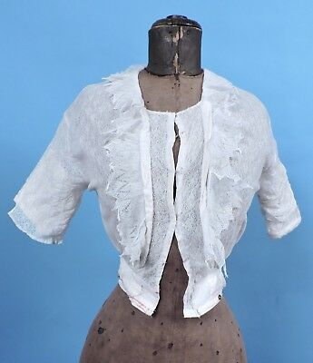 Antique Edwardian Floral Lace Bodice 4 Dress W Pointed Lace Edged Collar