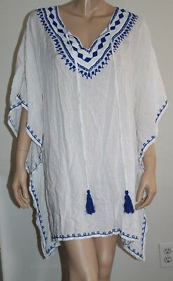 780433f8048 Raviya Plus Size 2X White Navy Embroidered Peasant Swimsuit Cover Up Tunic  NEW