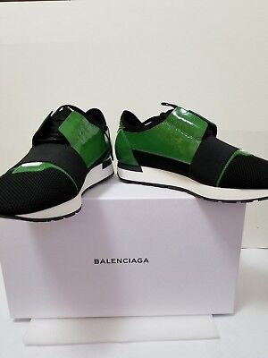 b424cb2fa127 New Balenciaga Green Patent Race Runners Leather   Mesh Men Sneakers EU ...