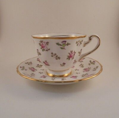 Royal Chelsea Britannia Teacup & Saucer Pink Roses Purple Thistle Bone China