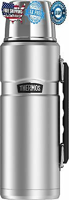 Stainless Steel Thermos Vacuum Insulated King 40 Ounce Beverage Bottle Silver
