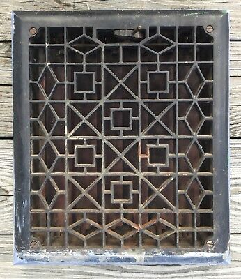 Old Vtg Antique Geometric Floor Wall Grate Cast Iron Register 10X12 Heat Vent