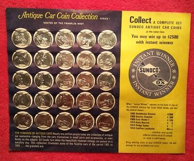 Sunoco Car Tokens from 1968  Complete Set in Holder