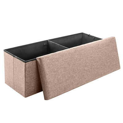 Folding Storage Ottoman Bench Foot Rest Stool Seat brown