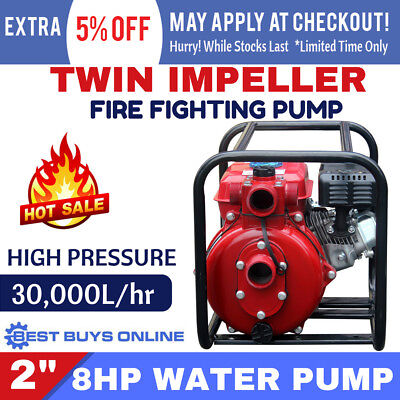 """FIRE FIGHTING 2"""" WATER TRANSFER PUMP 2 INCH TWIN IMPELLER Petrol High Pressure"""